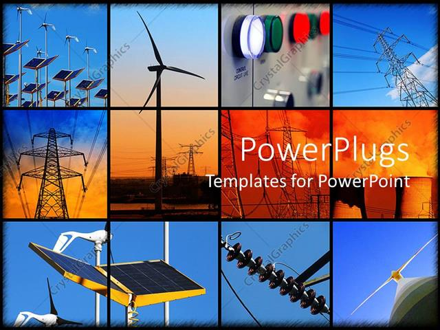 Powerpoint template background formed of twelve different powerpoint template displaying background formed of twelve different electricity depictions with solar toneelgroepblik