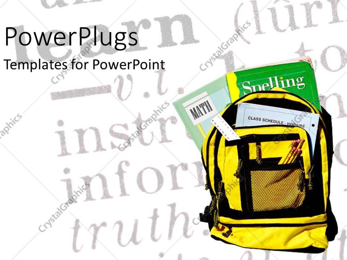 PowerPoint Template Displaying Backpack with Pencils Ruler and Textbooks Over Chalkboard in Background