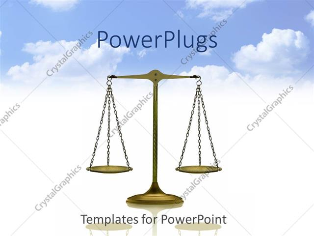 PowerPoint Template Displaying Balance, Scale of Justice on Reflective White Surface and Bright Blue Sky with White Clouds Background