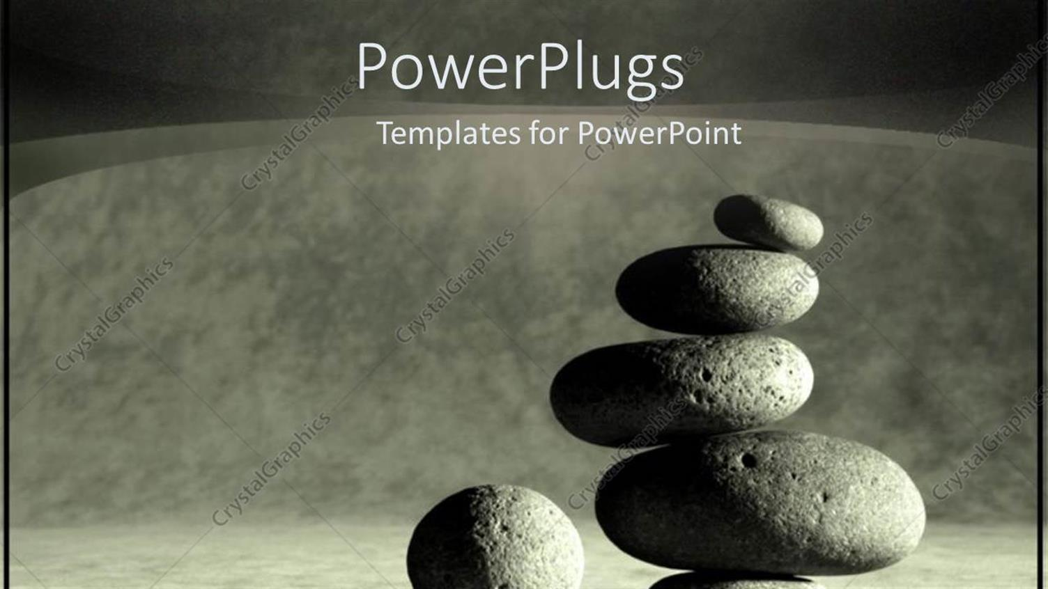 PowerPoint Template Displaying Balancing Stacking Stones as a Metaphor for Center and Peace in Black and White
