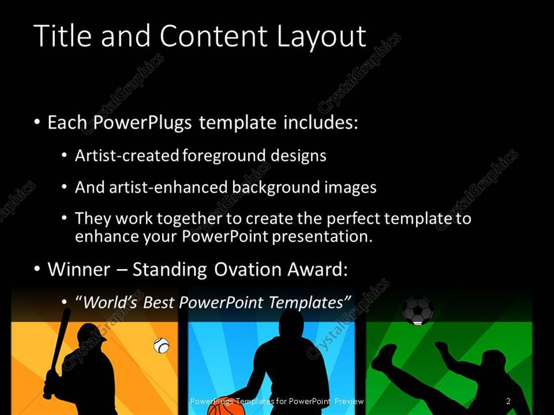 Powerpoint template baseball basketball and soccer players in powerpoint products templates secure standing ovation award toneelgroepblik Choice Image