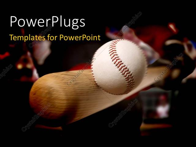 Powerpoint Template Baseball Bat Making Contact With Ball