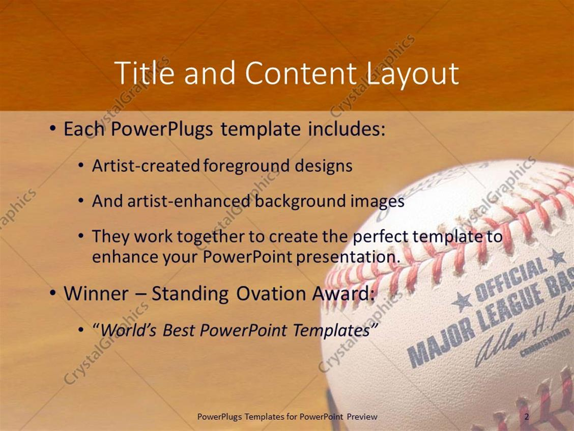 Powerpoint template a baseball in a closeup with brownish powerpoint products templates secure standing ovation award toneelgroepblik Choice Image