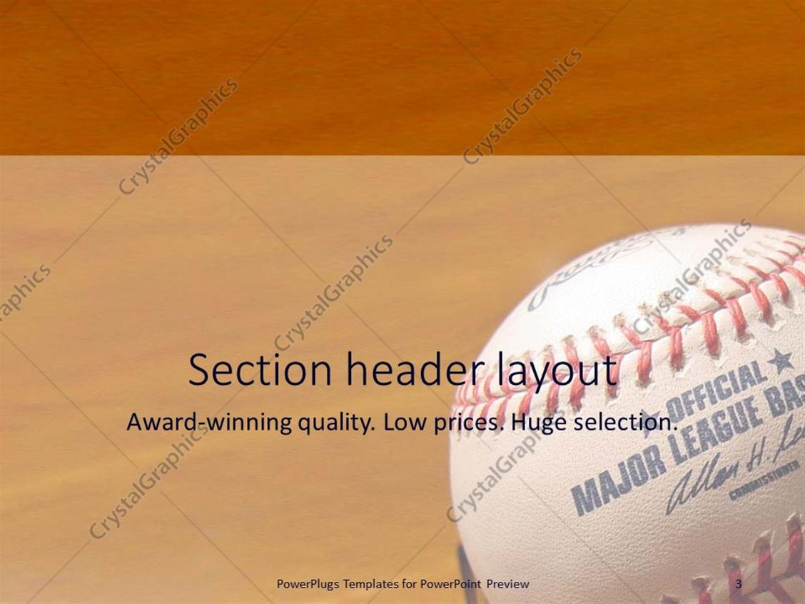Powerpoint template a baseball in a closeup with brownish powerpoint products templates secure standing ovation award toneelgroepblik Image collections