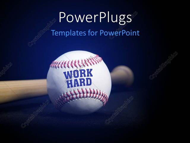 Powerpoint template baseball with text work hard over blue and powerpoint template displaying baseball with text work hard over blue and black background toneelgroepblik Choice Image
