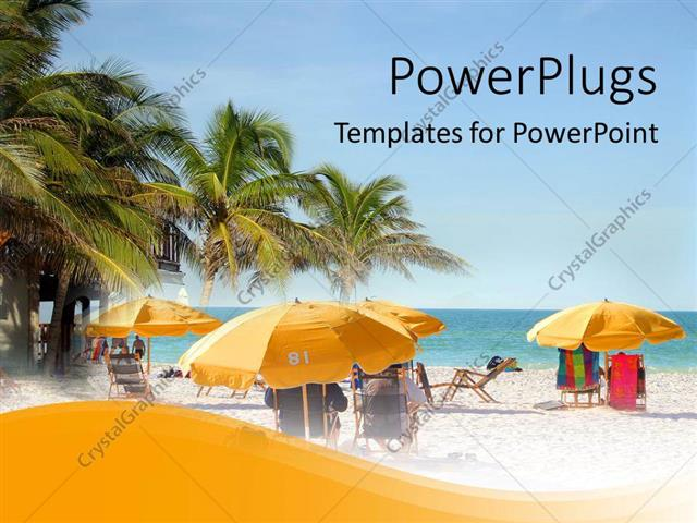 PowerPoint Template Displaying Beach Chairs, Umbrellas, Palm Trees by Ocean