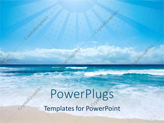 Powerpoint template beach and sea with light blue sky and depiction powerpoint template displaying beach and sea with light blue sky and depiction of sun with large rays toneelgroepblik Image collections