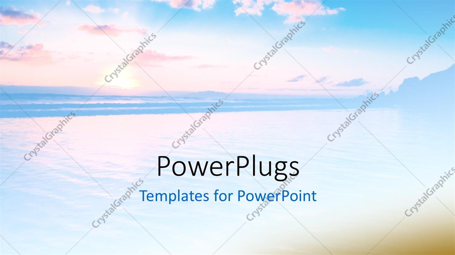 PowerPoint Template Displaying Beautiful Abstract Sunset Scene with Cool Blue Effect