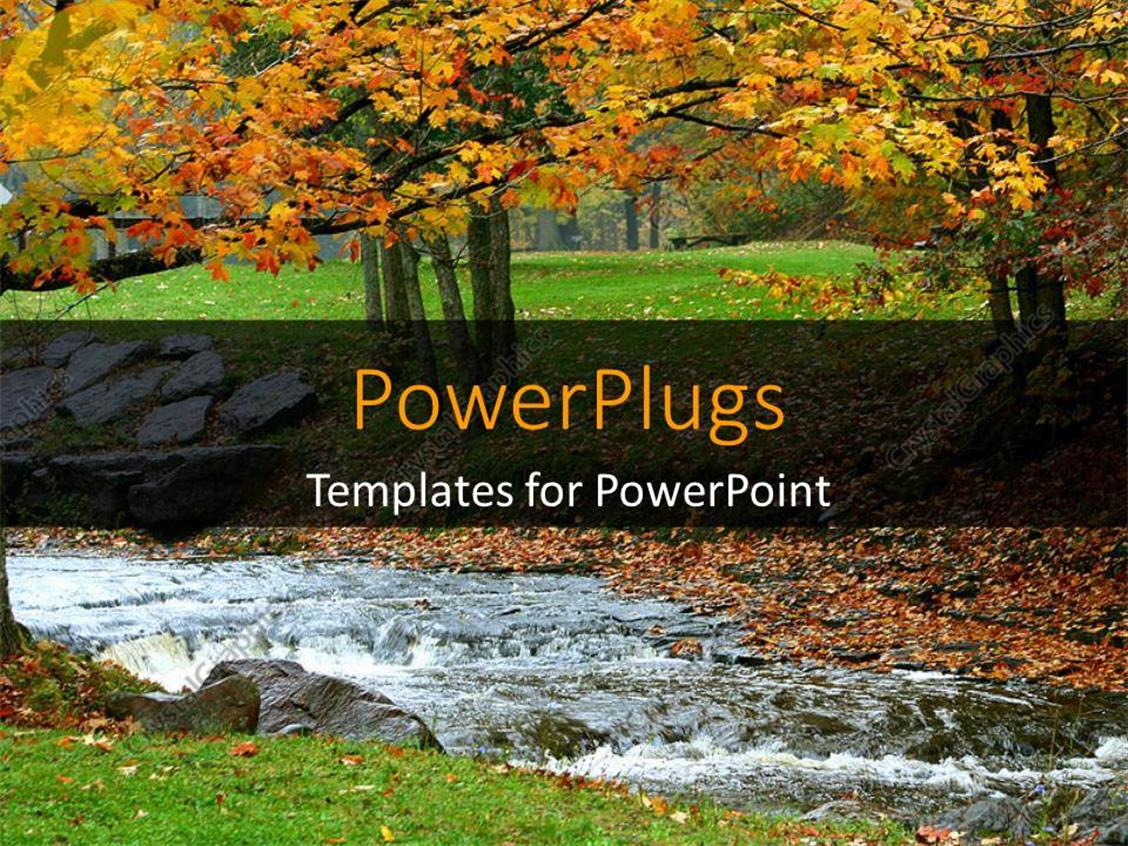 powerpoint template a beautiful autumn with a water