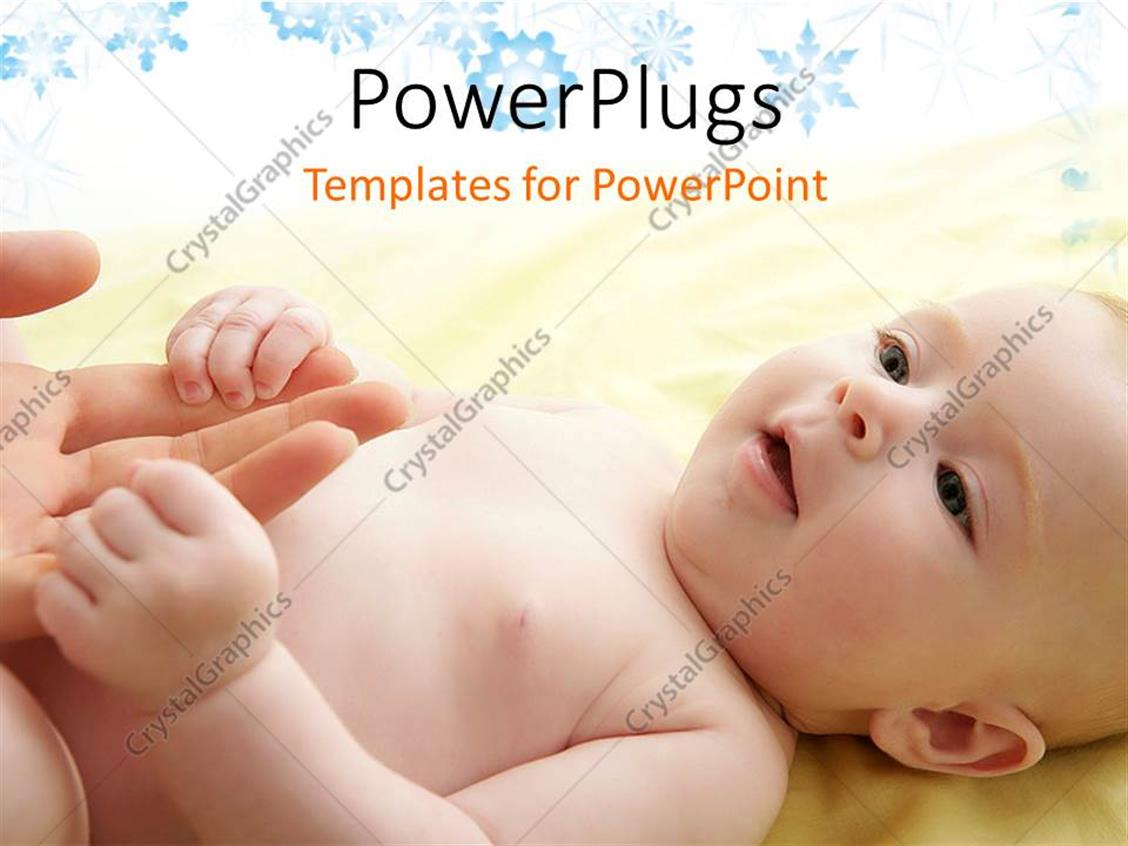 PowerPoint Template Displaying a Beautiful Baby with a Celebration in the Background