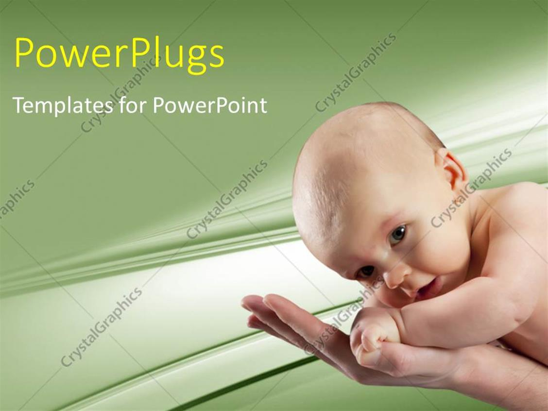 PowerPoint Template Displaying Beautiful Baby Crawling on Mother's Hand with Cool Background