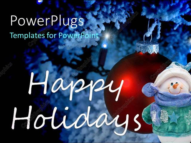 PowerPoint Template: a beautiful ball and a snow man with Happy ...