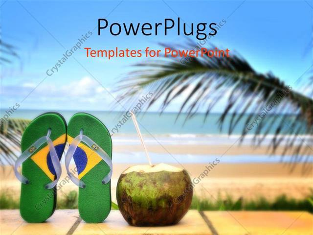 Powerpoint template beautiful brazilian beach with straw out of powerpoint template displaying beautiful brazilian beach with straw out of coconut and palms toneelgroepblik Gallery
