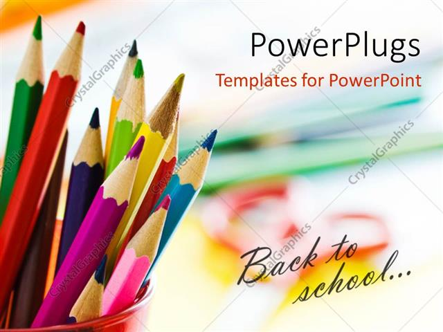 PowerPoint Template Displaying Beautiful Colored Pencils in Red Cup with Text Back to School