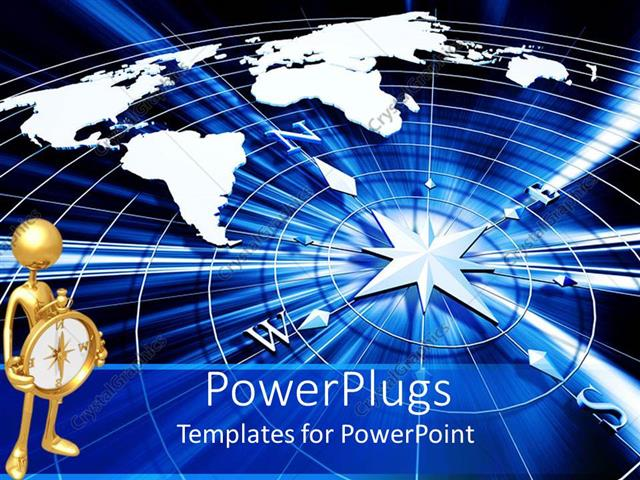 PowerPoint Template Displaying a Beautiful Compass with a Digital Globe Background
