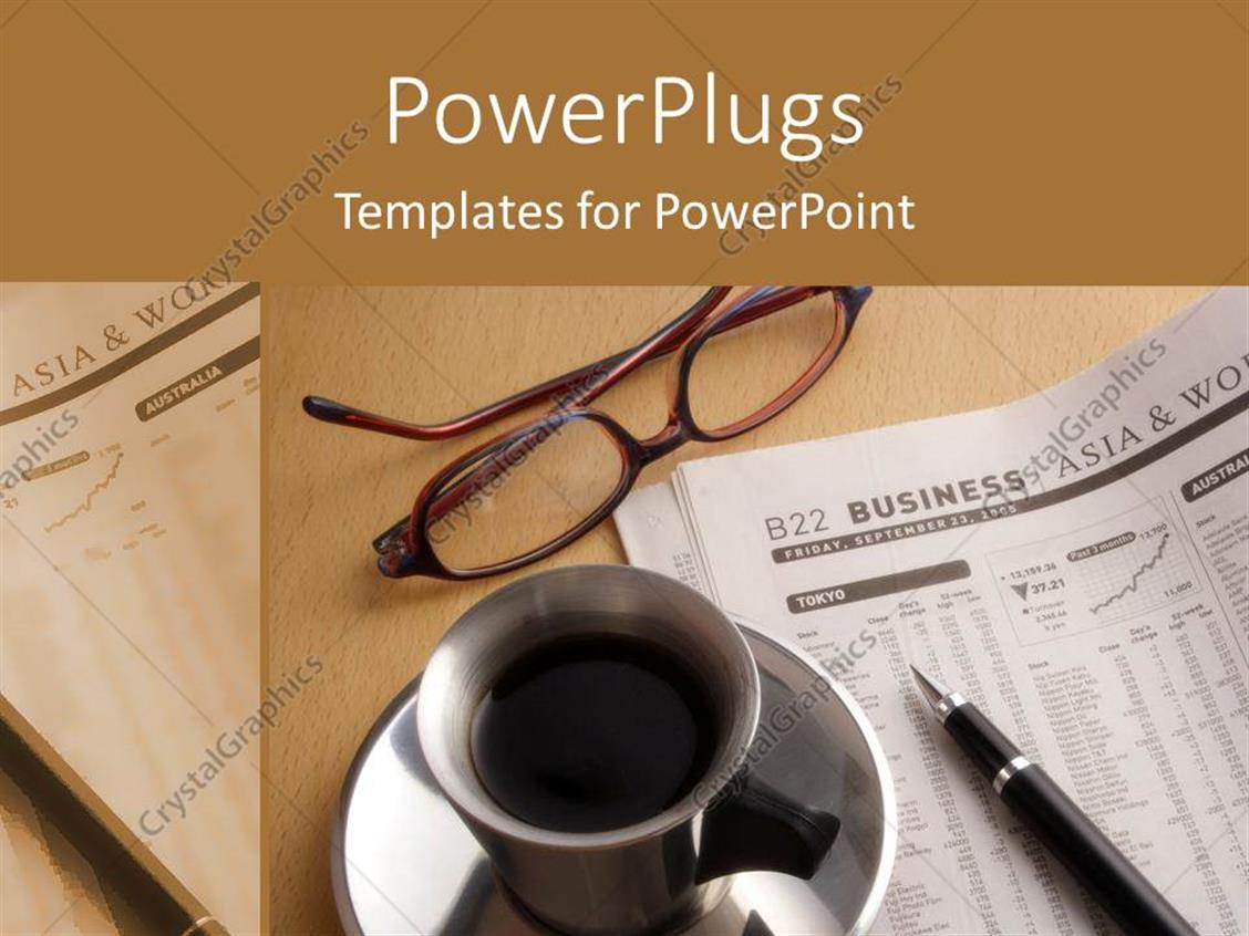 PowerPoint Template Displaying a Beautiful Depiction of a Coffee and a Newspaper on an Office Table