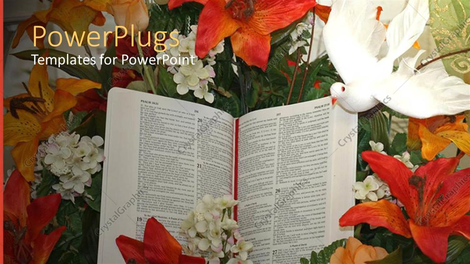PowerPoint Template Displaying a Beautiful Depiction of a Doe and a Book Along with Flowers