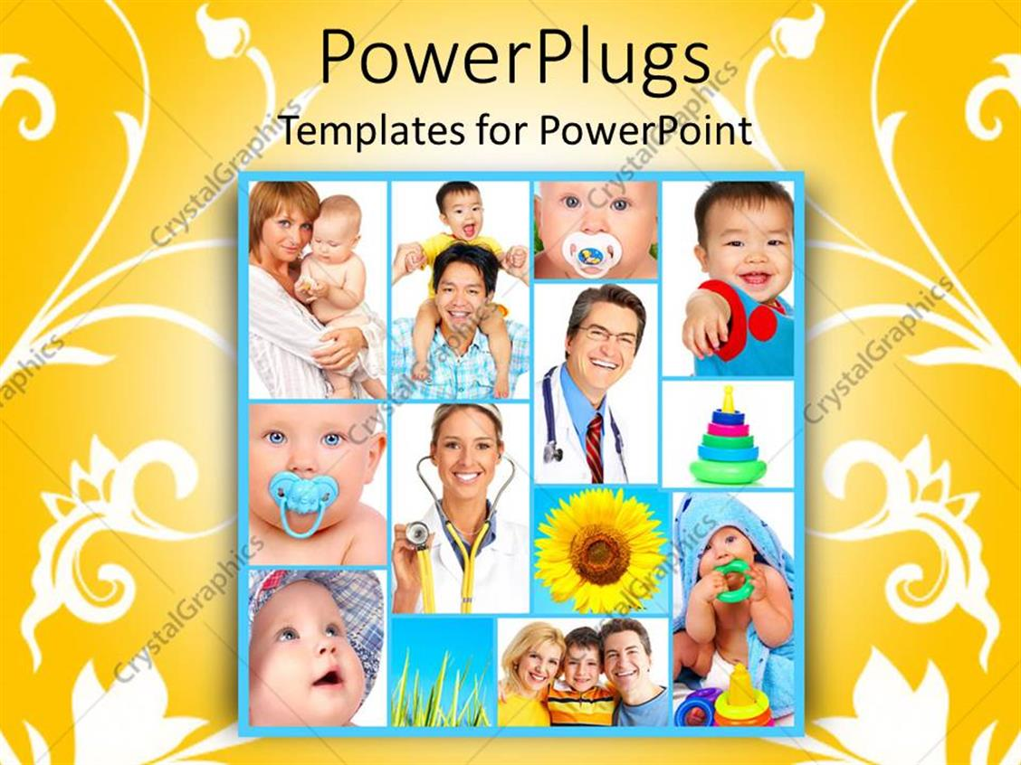 PowerPoint Template Displaying a Beautiful Depiction of a Number of Kids with Doctors and Toys