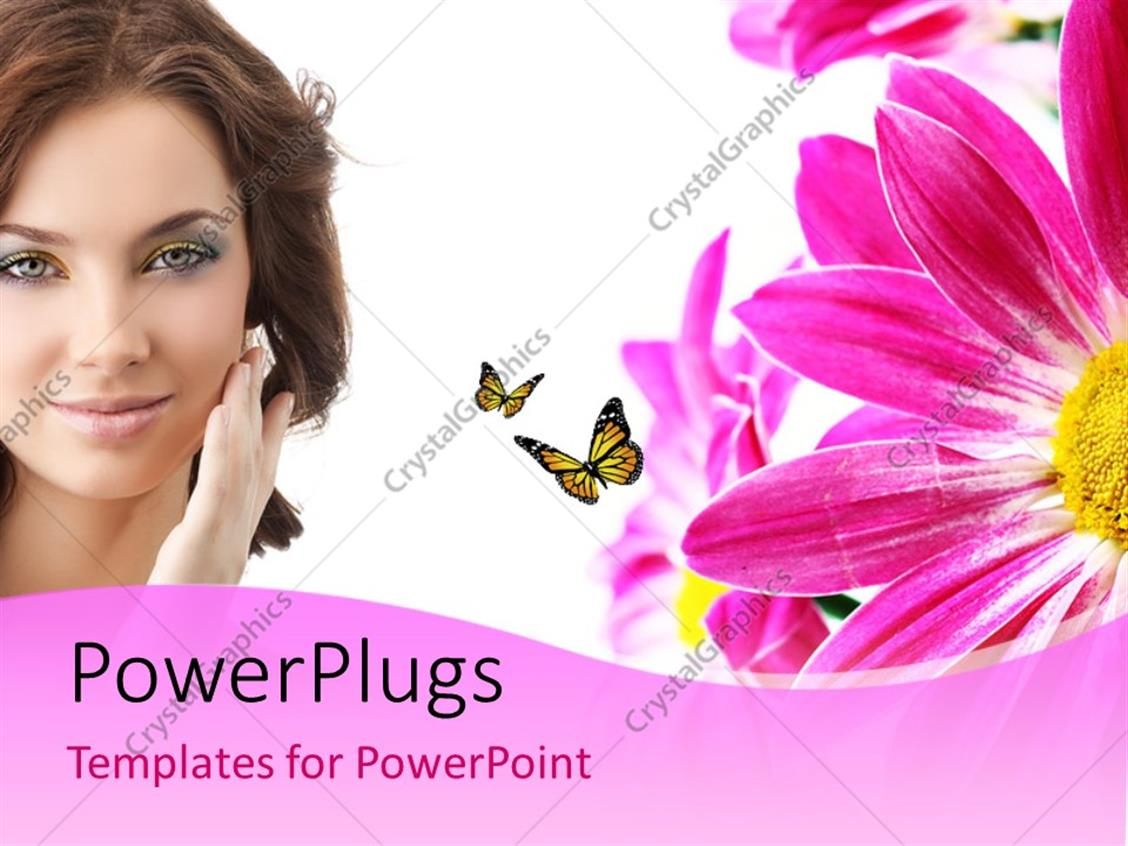 Powerpoint template a beautiful girl with a number of flowers 3079 powerpoint template displaying a beautiful girl with a number of flowers izmirmasajfo