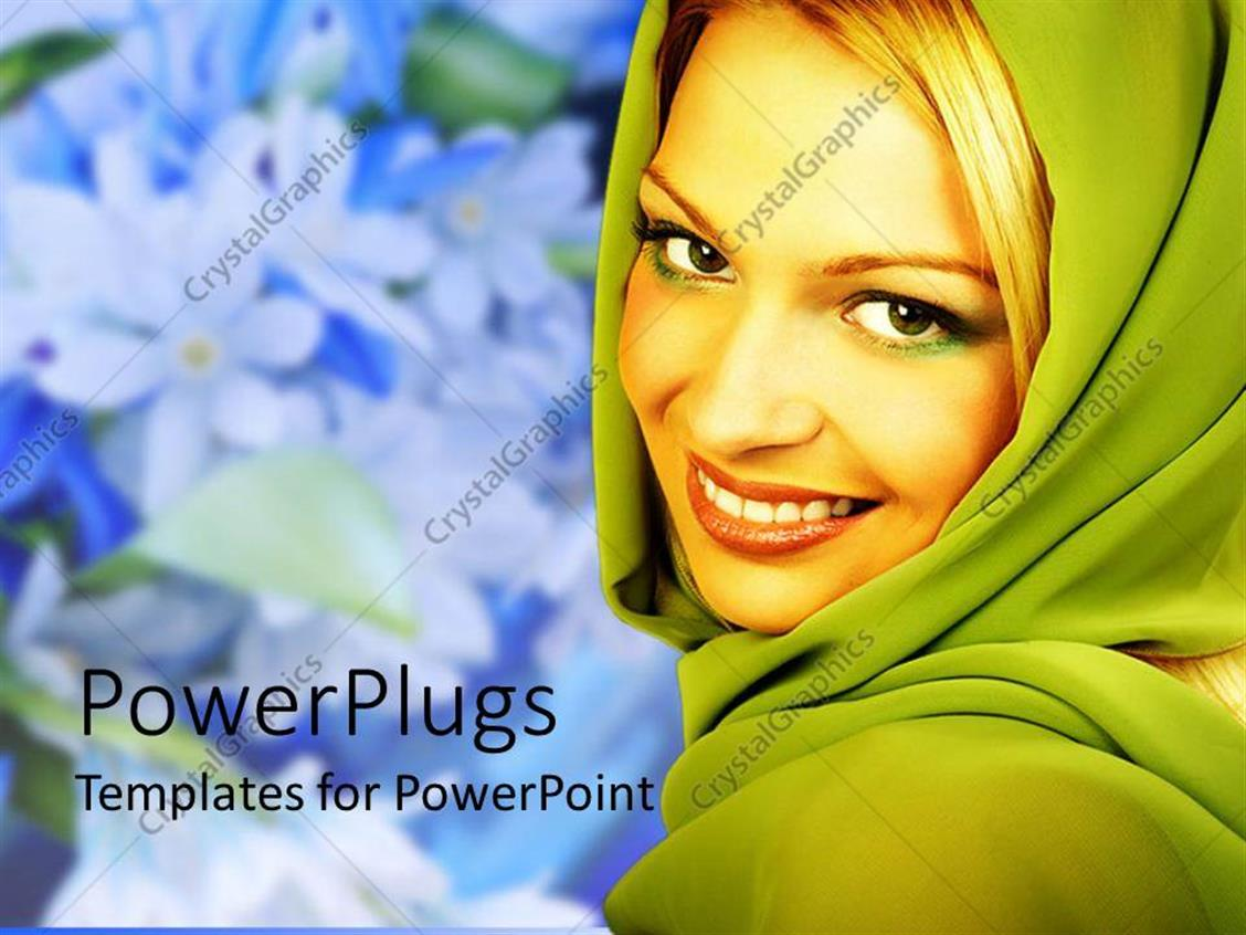 Powerpoint Template A Beautiful Girl Smiling With Flowers In The