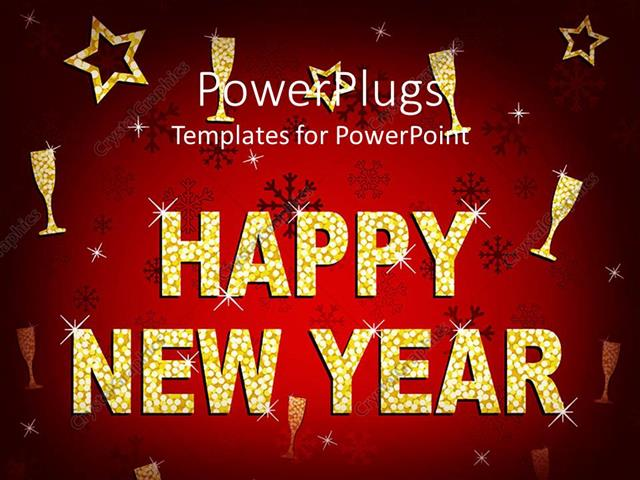 powerpoint template displaying a beautiful happy new year background with celebration material