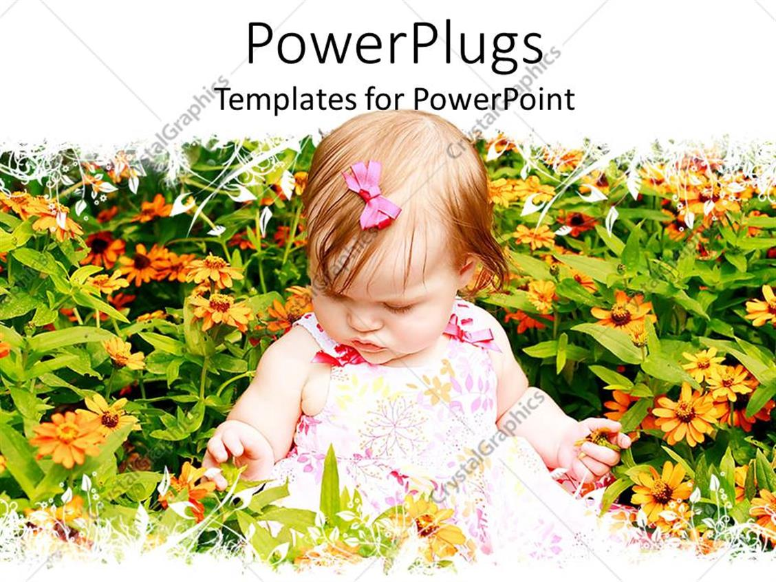 Powerpoint template a beautiful kid with a lot of flowers 2524 powerpoint template displaying a beautiful kid with a lot of flowers izmirmasajfo