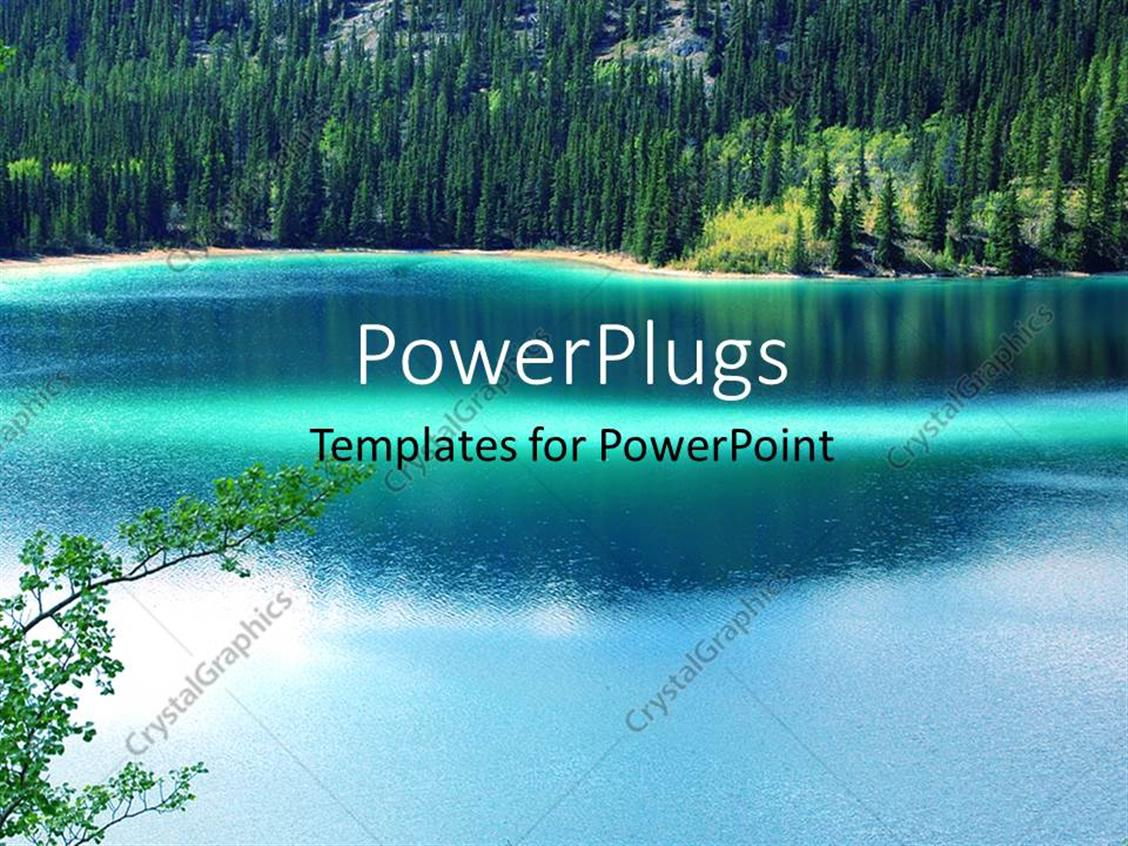 PowerPoint Template Displaying a Beautiful Lake with a Number of Trees