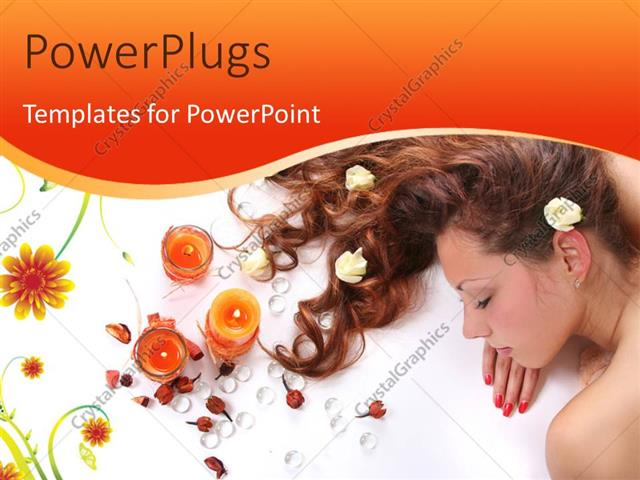 PowerPoint Template Displaying Beautiful Long-Haired Girl Relaxing in Spa Salon with Candles and Flowers