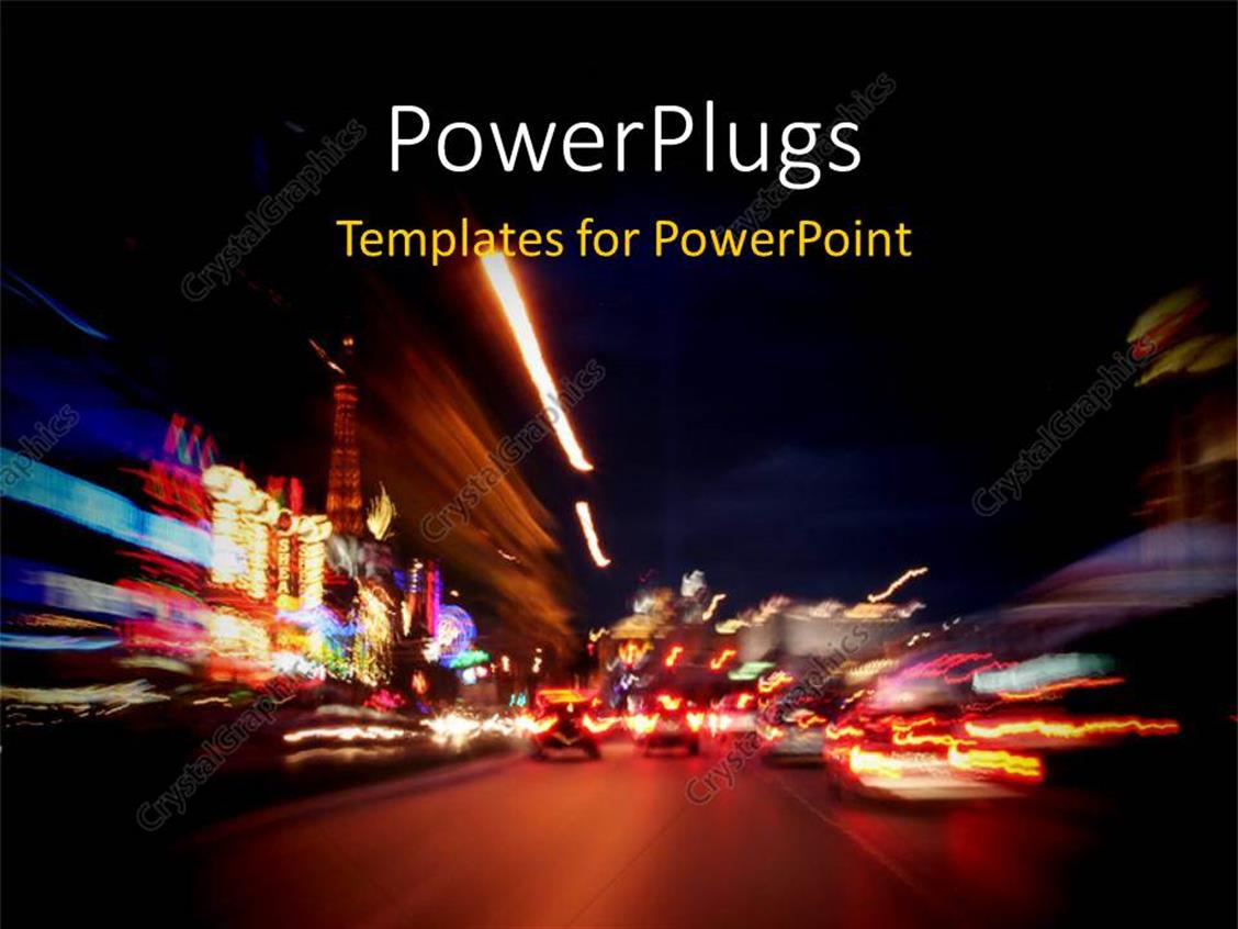 PowerPoint Template Displaying Beautiful Night View of Las Vegas Strip with Lights and Cars