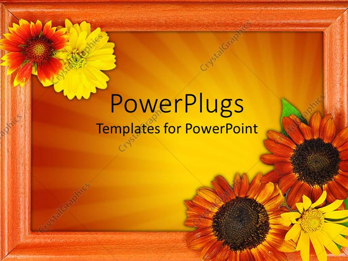 Powerpoint template beautiful picture frame with lots of flowers powerpoint template displaying beautiful picture frame with lots of flowers on an orange background jeuxipadfo Choice Image