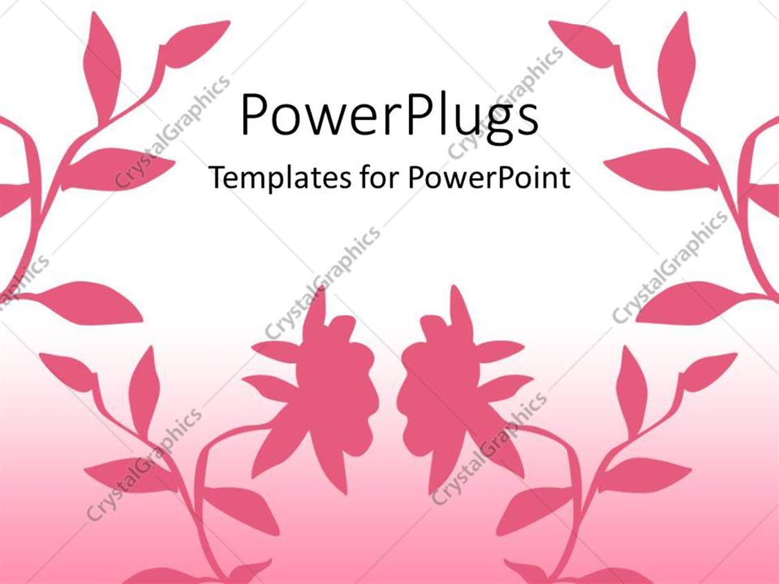 PowerPoint Template Displaying Beautiful Pinkish Background Including Flowers of the Same Color