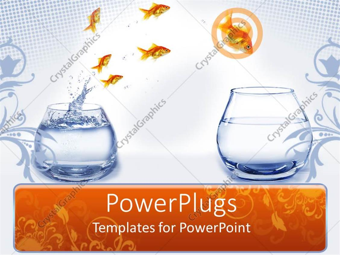 PowerPoint Template Displaying a Beautiful Representation of Motivation Through Fishes Jumping from One Place to Another