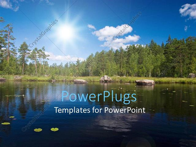 PowerPoint Template Displaying a Beautiful Scenery with Lake, Trees and Sunshine in the Background