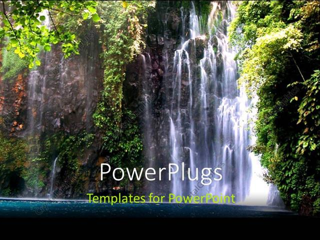 Powerpoint Template Beautiful Scenery Of Waterfall In The Philippines 18074