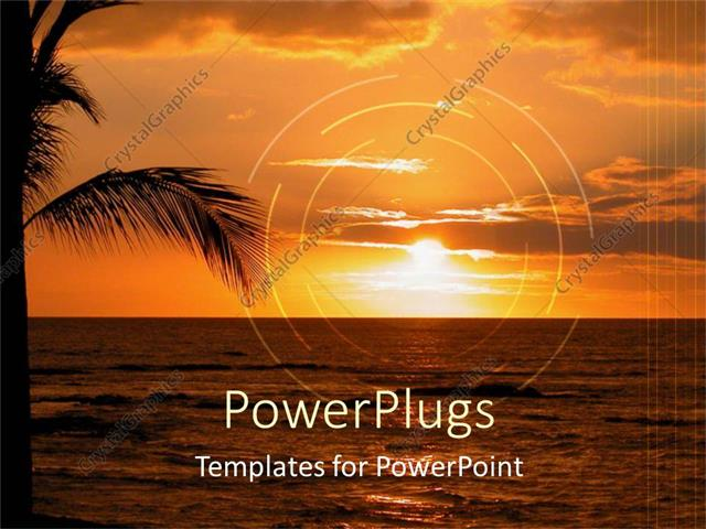 PowerPoint Template: a beautiful sunset on a beach with date trees