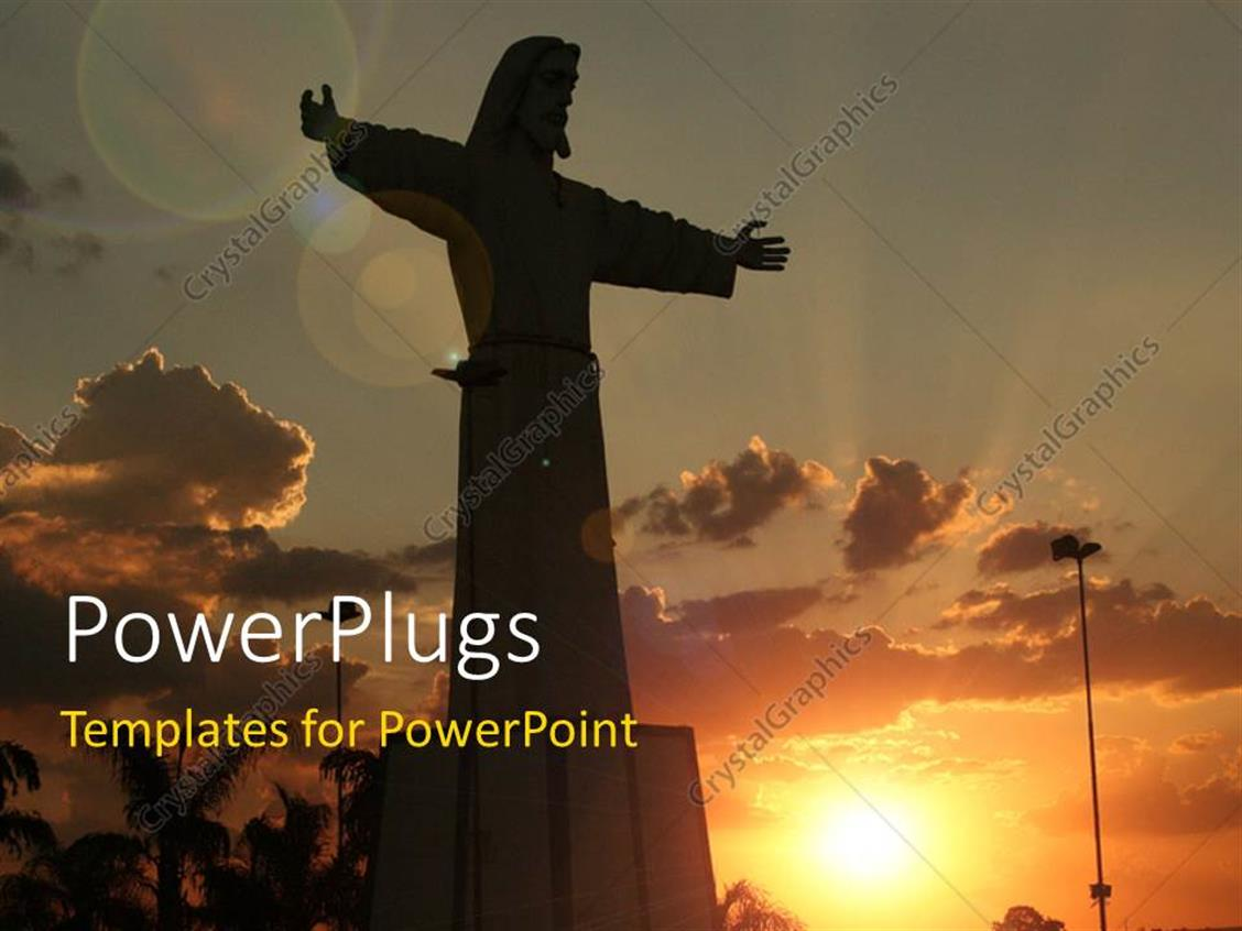 PowerPoint Template Displaying Beautiful Sunset in Cloudy Sky with Silhouette of Jesus Depicting Resurrection
