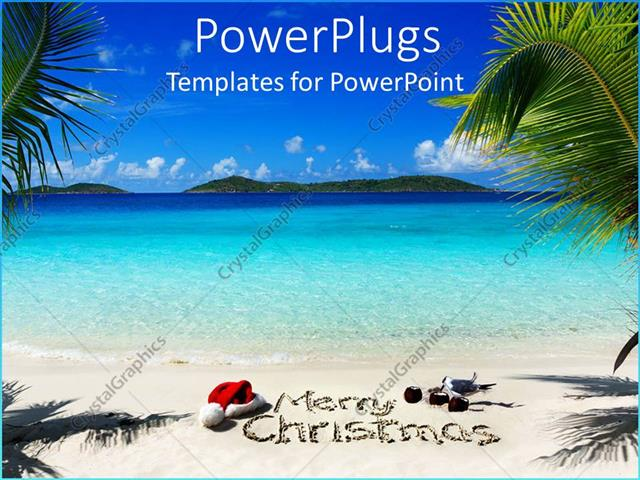 powerpoint template displaying beautiful view of a beach with a merry christmas text - Merry Christmas Beach