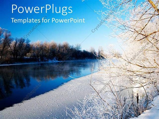 PowerPoint Template Displaying Beautiful View of a Lake with Dried Out Tress