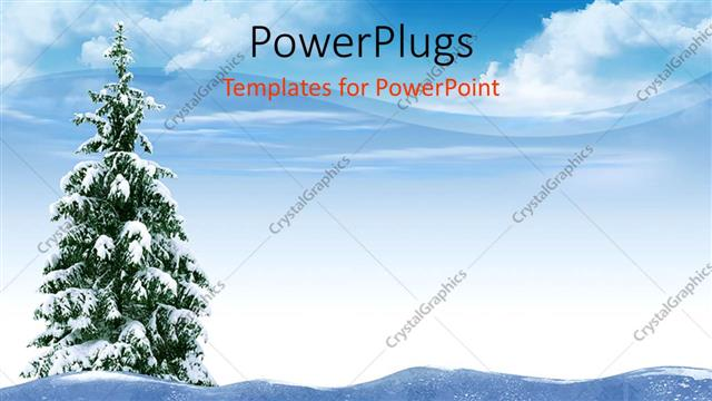 Powerpoint Template A Christmas Tree In The Middle Thick Of Snow