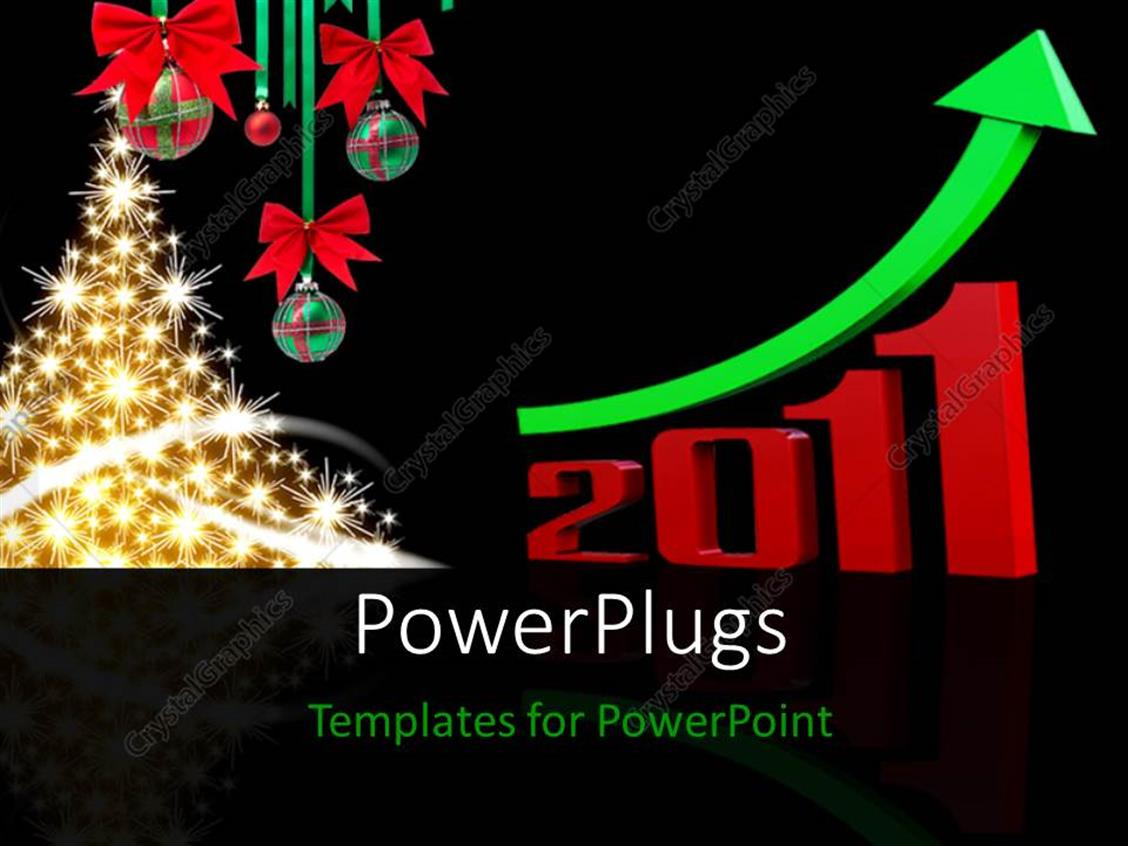 PowerPoint Template Displaying a Beautifully Lit Christmas Tree on a Black Background