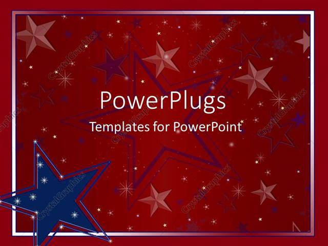 Powerpoint Template Big Blue And Red Star Logos On A Red Background