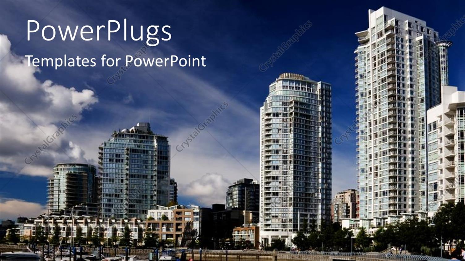 PowerPoint Template Displaying big Buildings in City, Urban Living, City Lifestyle with River Depiction and Apartment Buildings in the Background
