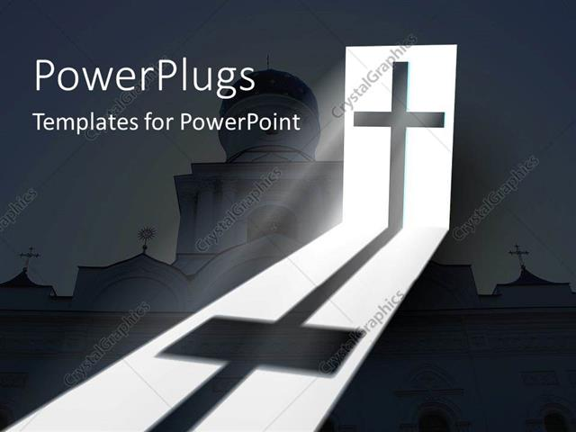 PowerPoint Template: Big Catholic Church With A Cross And