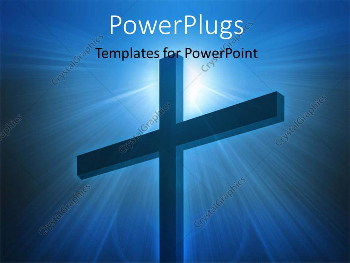 PowerPoint Template Displaying a big Cross on a Lit Blue Colored Background