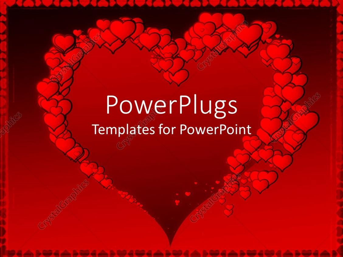 Powerpoint Template Big Heart Shape Framed By Red Hearts Of Various