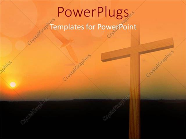 PowerPoint Template: Big Wooden Cross On A Sun Set