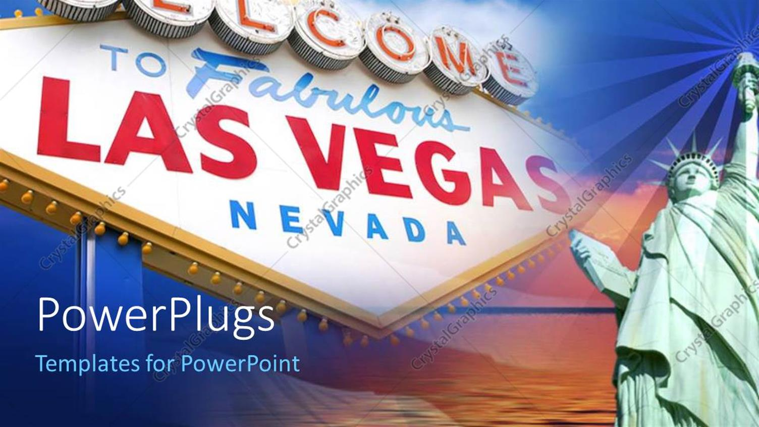 PowerPoint Template Displaying Bill Board Welcoming to Las Vegas, Nevada with Airplane in Sky
