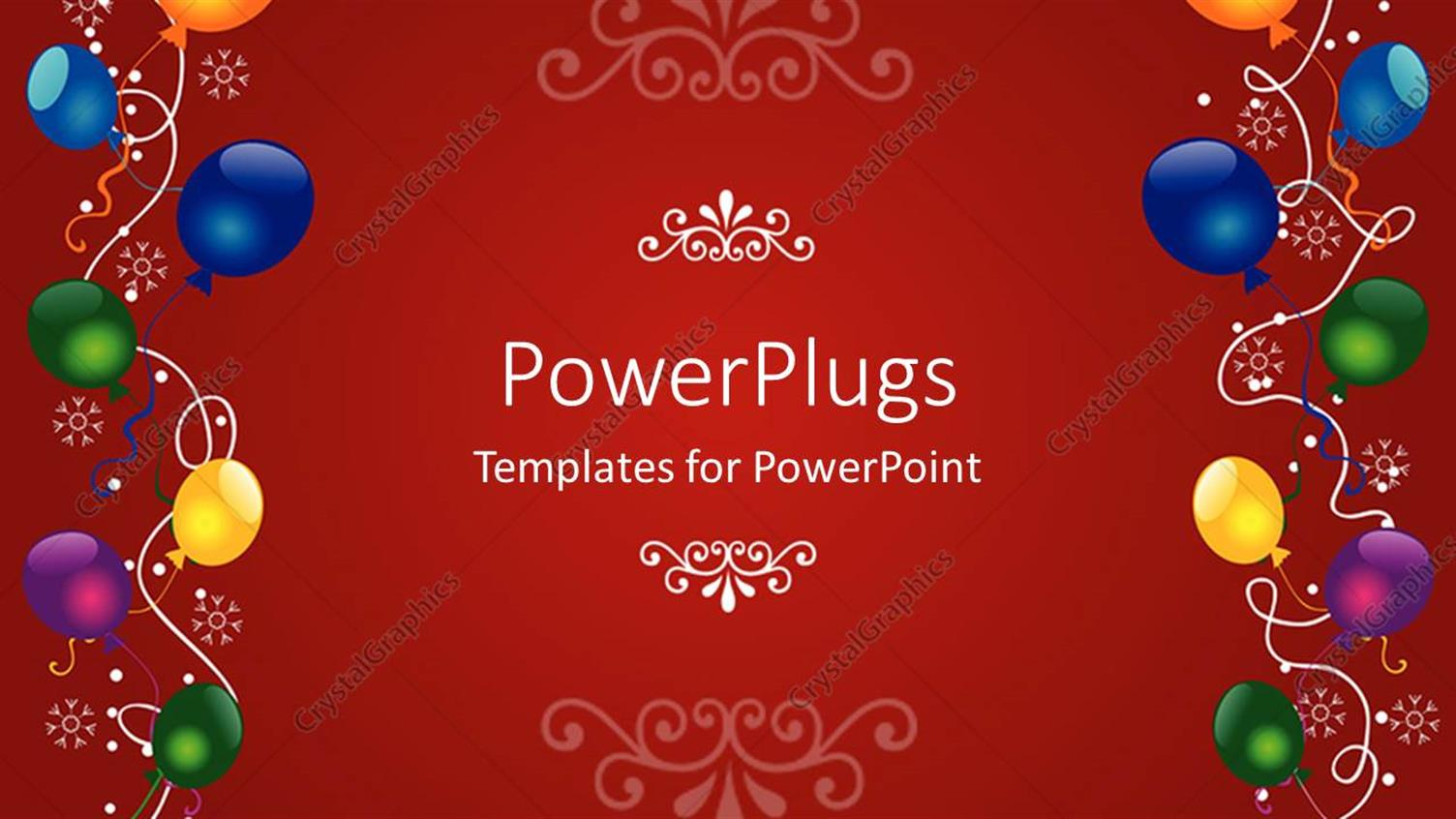 PowerPoint Template Displaying a Birthday Celebration with Reddish Background