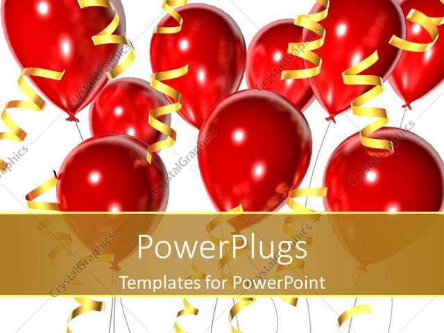 powerpoint template birthday party celebrations graduation red