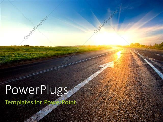 Powerpoint Template Black Asphalt Road With Arrow To Sunset